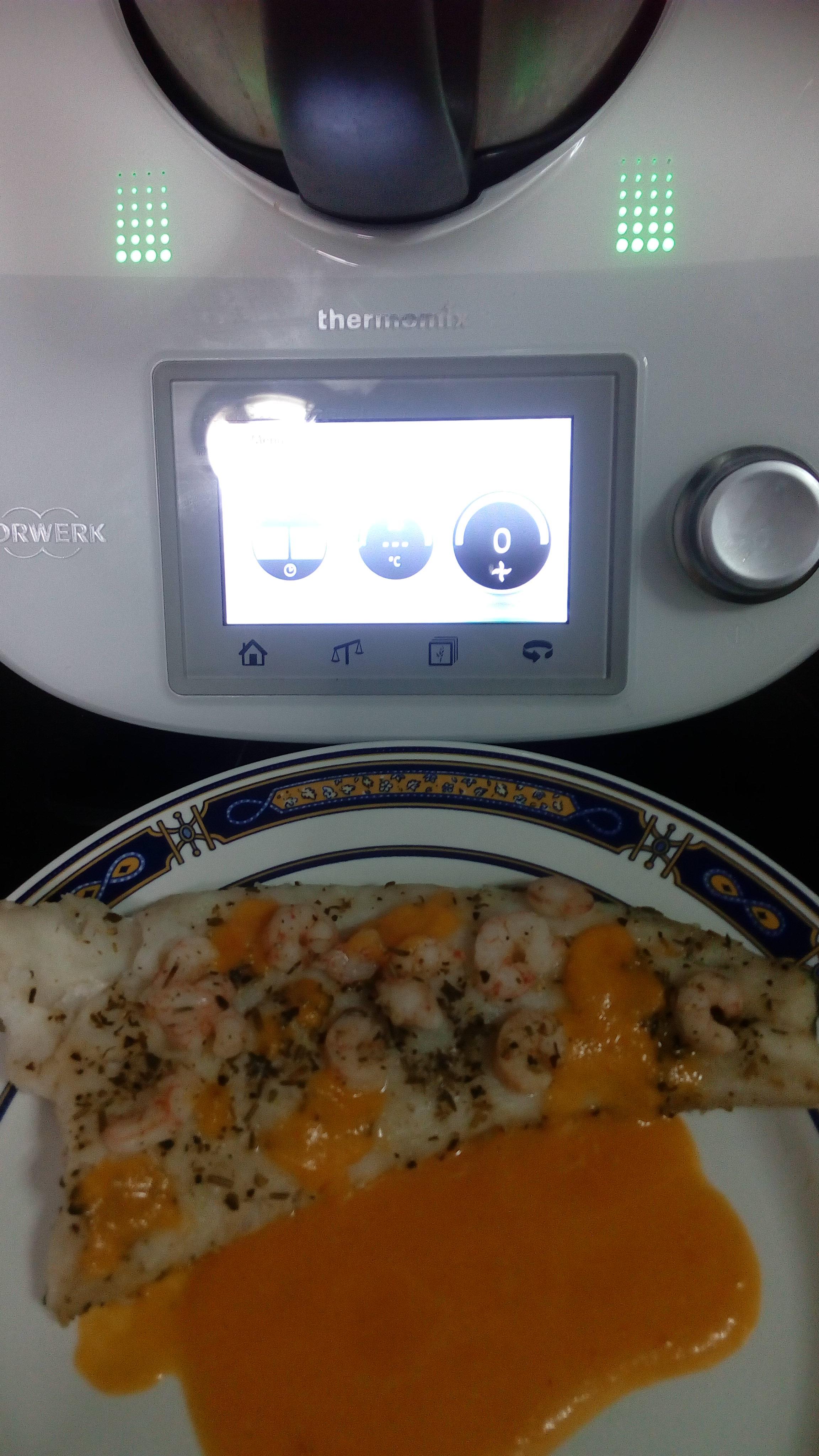 Merluza con gambas y salsa de zanahoria en Thermomix®