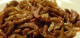 Ternera con cebolla estilo chino